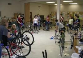 Columbia residents learn how to perform bicycle maintenance and repairs.