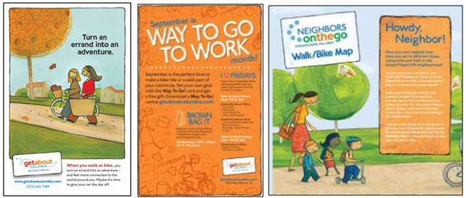 Some of the promotional materials created to encourage walking and biking.