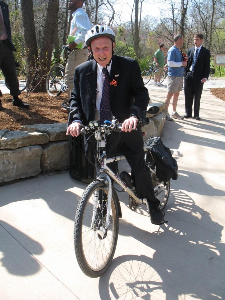Former mayor Darwin Hindman prefers to make trips by bicycle.